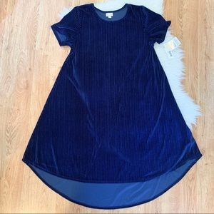 NWT LuLaRoe Rare Elegant Velevt Blue Carly Dress L